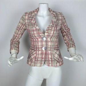 Corinne Biganzoli Blazer Tweed Plaid Career Sz 2
